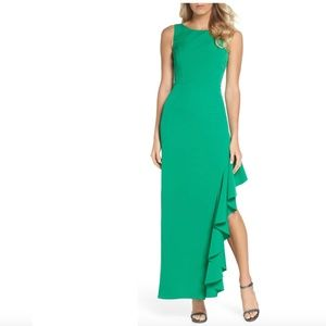 NEW Vince Camuto Ruffled Slit Evening Gown Green